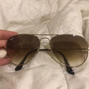 Ray ban brown/gold gradient aviators size 58